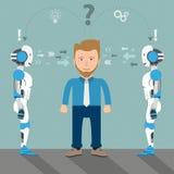 Cartoon Businessman 2 Robots Problem Solution Stock Photos