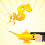 Cartoon businessman rub the lamp Stock Photo