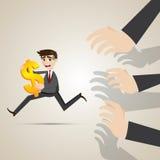 Cartoon businessman run away from creditor. Illustrator of cartoon businessman run away from creditor Royalty Free Stock Image