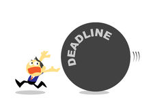 Cartoon Businessman Run Away from Deadline. Stock Photography