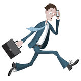 Cartoon businessman running hurriedly with a case and phone in hand Stock Photo