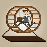 Cartoon businessman running in rat wheel Stock Images