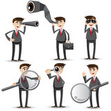 Cartoon businessman with searching gesture Royalty Free Stock Image