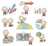 Cartoon Businessman Set. With graphs, arrows, globes and other symbols Royalty Free Stock Photo