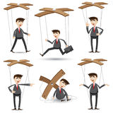 Cartoon businessman set in marionette style Stock Photos
