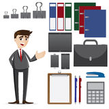Cartoon businessman with set of office accessories. Illustration of cartoon businessman with set of office accessories Royalty Free Stock Image