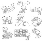 Cartoon Businessman Set, Outline Royalty Free Stock Photo