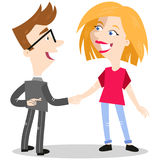 Cartoon businessman shaking woman`s hand while crossing fingers behind his back. Vector illustration of cartoon businessman shaking woman`s hand while crossing Stock Photo