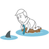 Cartoon businessman shark ocean floating. Vector illustration of a monochrome cartoon character: Scared businessman floating on briefcase in ocean with shark Royalty Free Stock Photography