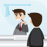 Cartoon businessman shaving in toilet Stock Photo