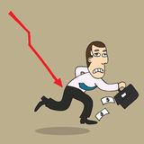 Cartoon businessman shocking down arrow and downturn economic cr Royalty Free Stock Images