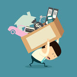 Cartoon businessman shoulder debt box Royalty Free Stock Images
