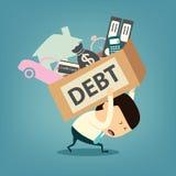 Cartoon businessman shoulder debt box Stock Image