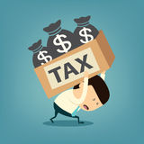 Cartoon businessman shoulder tax box Stock Photography