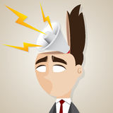 Cartoon businessman with shouting megaphone in his head. Illustration of cartoon businessman with shouting megaphone in his head in relaxing concept Stock Image