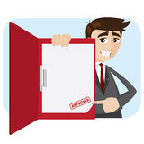 Cartoon businessman showing approved document in folder Stock Photo