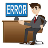 Cartoon businessman showing error computer Stock Image