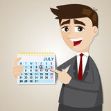 Cartoon businessman showing weekend on calendar. Illustration of cartoon businessman showing weekend on calendar Royalty Free Stock Photos