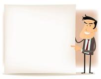 Cartoon Businessman Sign Royalty Free Stock Photo