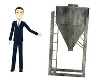 Cartoon businessman with silo Stock Images