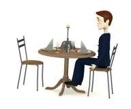 Cartoon businessman sits on restaurant Royalty Free Stock Photography
