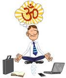 Cartoon businessman sitting in lotus pose. Vector illustration of a Cartoon businessman doing yoga pose lotus Royalty Free Stock Image