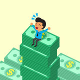 Cartoon businessman sitting on money stacks Royalty Free Stock Photos