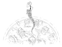Cartoon of Businessman Sitting on Sky High Stack of Office Folders. Cartoon stick man drawing conceptual illustration of businessman sitting above the cityscape Royalty Free Stock Photos