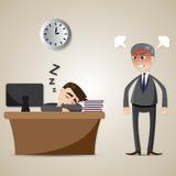 Cartoon businessman sleeping and angry boss Stock Photos