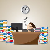 Cartoon businessman sleeping at working time Royalty Free Stock Photo