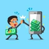 Cartoon businessman and smartphone earning money Stock Photos