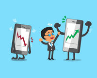 Cartoon businessman and smartphones with stock market arrows Royalty Free Stock Image