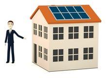 Cartoon businessman with solar house. 3d render of cartoon businessman with solar house Royalty Free Stock Image