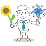 Cartoon businessman solar wind energy sunflower Stock Image