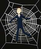 Cartoon businessman in spiderweb Stock Photos
