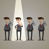 Cartoon businessman with spotlight winner Stock Photography