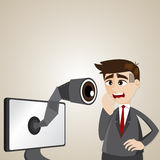 Cartoon businessman with spy camera on computer monitor Stock Photography