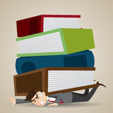 Cartoon businessman with stack of folder and book over his back Stock Images