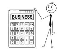 Cartoon of Businessman Standing With Big Electronic Calculator and Business Text. Cartoon stick man drawing conceptual illustration of businessman standing with Stock Photos