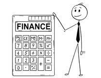 Cartoon of Businessman Standing With Big Electronic Calculator and Finance Text. Cartoon stick man drawing conceptual illustration of businessman standing with Stock Photos