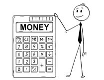 Cartoon of Businessman Standing With Big Electronic Calculator and Money Text. Cartoon stick man drawing conceptual illustration of businessman standing with big Royalty Free Stock Photography
