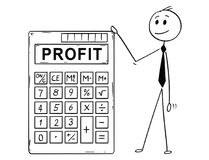 Cartoon of Businessman Standing With Big Electronic Calculator and Profit Text. Cartoon stick man drawing conceptual illustration of businessman standing with Royalty Free Stock Image