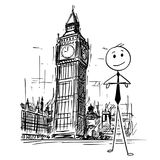 Cartoon of Businessman Standing in Front of Big Ben Clock Tower in London, England. Cartoon stick man drawing conceptual illustration of businessman standing in royalty free illustration