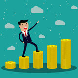 Cartoon Businessman step on stack of gold coin. Vector illustration in flat design on green backgound, Financials, work motivation Stock Photography