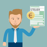 Cartoon Businessman Steuer. German text Steuer, translate Tax Royalty Free Stock Photography
