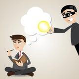 Cartoon businessman with stolen idea. Illustration of cartoon businessman with stolen idea vector illustration
