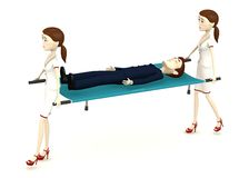 Cartoon businessman on stretcher carrying by nurses Stock Image