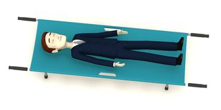 Cartoon businessman on stretcher Stock Photos