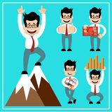Cartoon businessman in style of flat design. Royalty Free Stock Photo