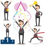 Cartoon businessman with success action Stock Photos